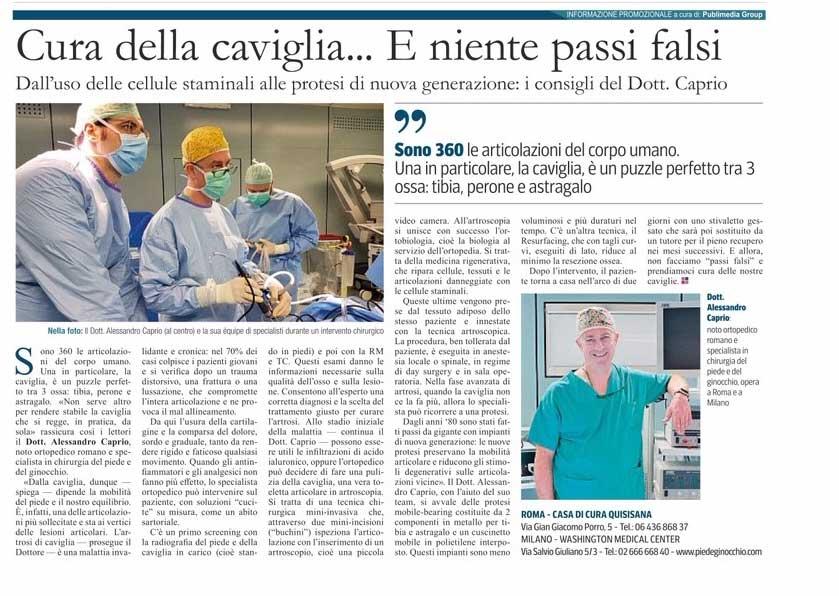 Esce sul Corriere della Sera un articolo sul Dott.Alessandro Caprio